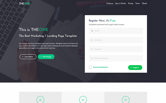 theone landing page template live preview wrapbootstrap